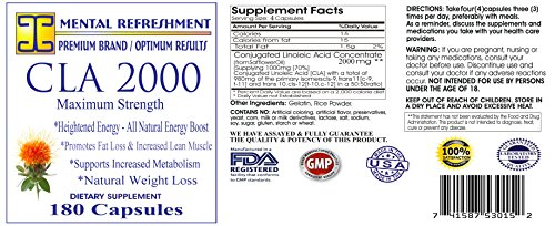 Mental Refreshment: CLA (Conjugated Linoleic Acid) – 2000mg, 180 Capsules 152