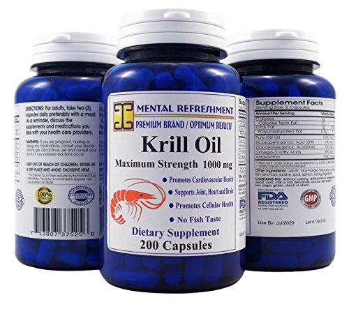 Mental Refreshment: Krill Oil 1000mg w/ Astaxanthin & Omega-3 xl – 200 Capsule (1 Bottle 126