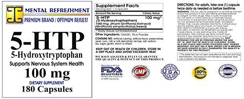 Mental Refreshment: 5-HTP: 100 mg 180 capsules (1 Bottle) 105
