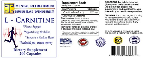 Mental Refreshment: L – Carnitine 1000mg, 180 capsules (1 Bottle) 92