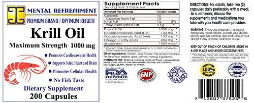 Mental Refreshment: Krill Oil 1000mg w/ Astaxanthin & Omega-3 xl – 200 Capsule (1 Bottle 122