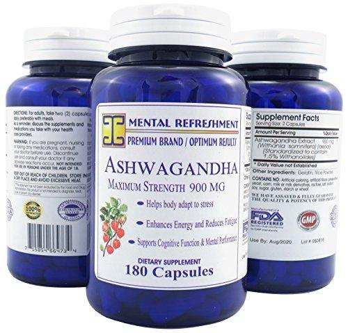 Mental Refreshment: Pure Ashwagandha 900mg, 180 Capsules (1 Bottle) 144